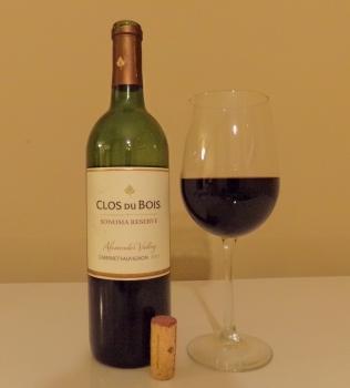 Clos du Bois Sonoma Reserve Cabernet Glass and Bottle