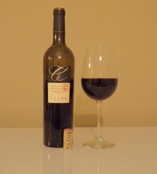 Cline Cellars Ancient Vines Zinfandel Glass And Bottle