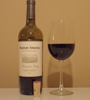 Rodney Strong Alexander Valley Estate Cabernet Glass and Bottle