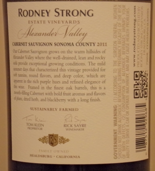 Rodney Strong Alexander Valley Estate Cabernet Back Label