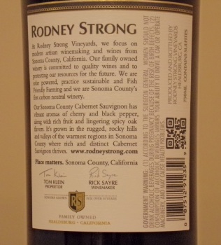 Rodney Strong Sonoma County Cabernet Back Label