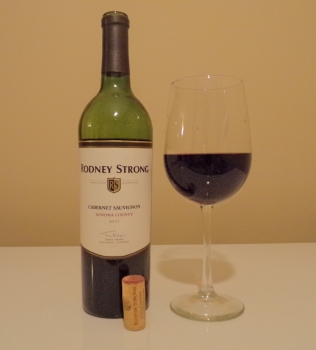 Rodney Strong Sonoma County Cabernet Glass and Bottle