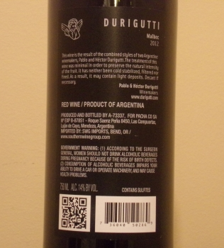 Durigutti Malbec Back Label