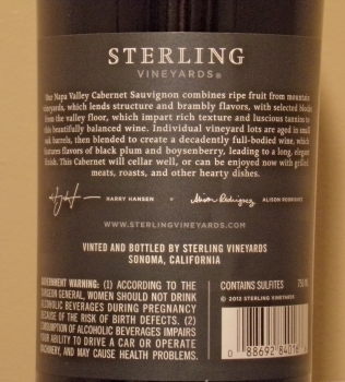 Sterling Napa Valley Cabernet Back Label