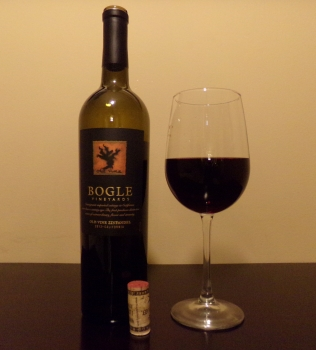 Bogle Old Vine Zinfandel Glass And Bottle