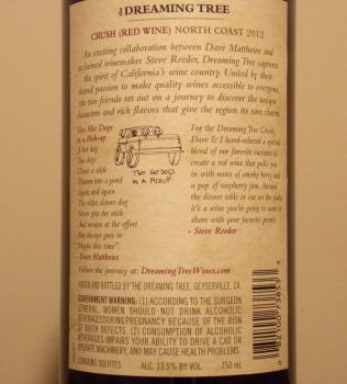 Dreaming Tree Crush Red Blend Back Label