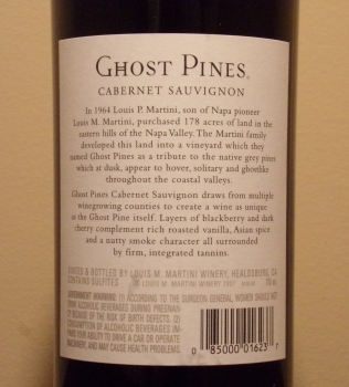 Ghost Pines Cabernet Back Label