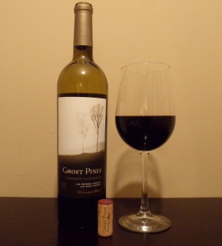 Ghost Pines Cabernet Glass And Bottle