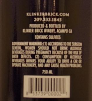 Klinker Brick Old Vine Zinfandel Back Label