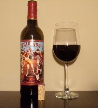 Michael David Freakshow Cabernet Glass and Bottle