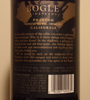 Bogle Phantom Back Label